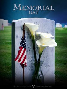 Memorial Day 2020 picture of tombstone with orchids and US flag